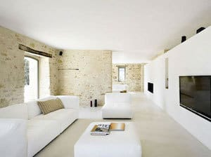 Gepolierde beton in de living of woonkamer