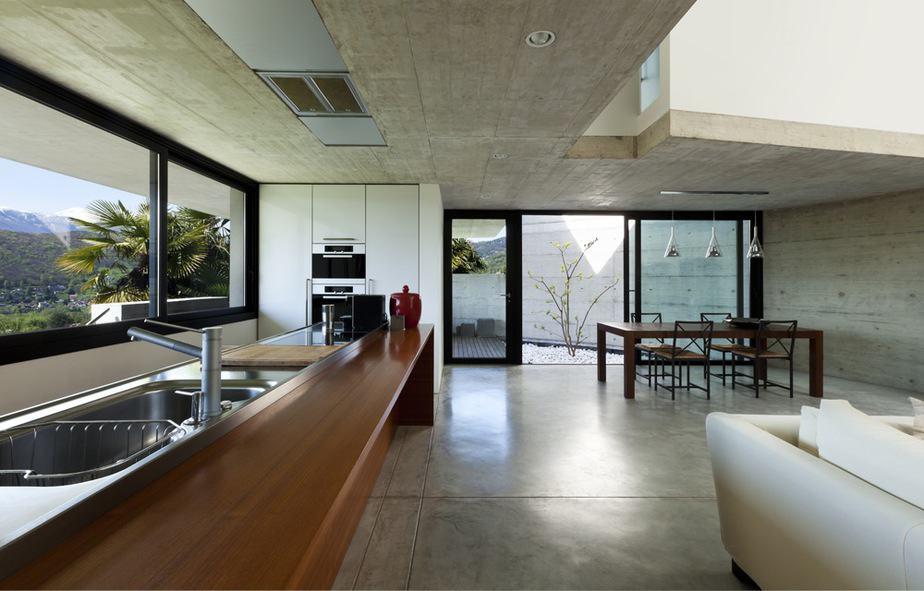 Gepolierde betonvloer in de keuken